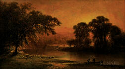 George Inness (American, 1825-1894)      The Pond at Sunset