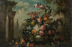 Continental School, 18th/19th Century      Floral Still Life with Classical Ruins