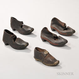 Two Pairs of Children's Shoes and a Single Shoe