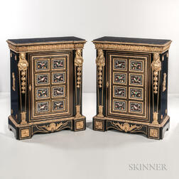 Pair of Louis XVI-style Ormolu- and Pietra Dura-mounted Ebony-veneered Cabinets