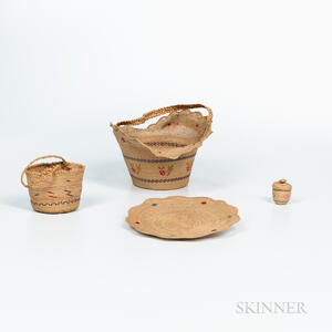 Three Aleutian Islands Twined Baskets and a Tray