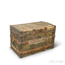 Wood- and Cloth-bound Steamer Trunk.     Estimate $50-100