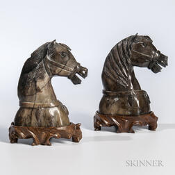 Pair of Soapstone Horse Heads