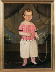 Prior-Hamblen School, Mid-19th Century      Portrait of a Child Dressed in Pink