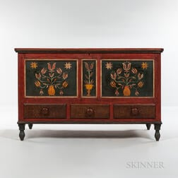 Painted and Paint-decorated Poplar Blanket Chest over Three Drawers