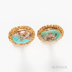 Pair of 14kt Gold and Turquoise Cuff Links