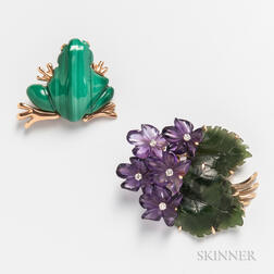 14kt Gold and Malachite Frog Brooch and a 14kt Gold, Hardstone, and Diamond Flower Brooch