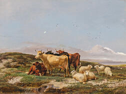 Thomas Sidney Cooper (British, 1803-1902)      Cattle and Sheep by the Coast