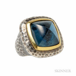 Sterling Silver, 18kt Gold, and Blue Topaz Ring, David Yurman