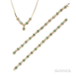 14kt Gold, Emerald, and Diamond Necklace and Bracelet