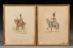 Two Eugene Titeux French Uniform Study Lithographs