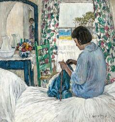 Esperanza Gabay (American, 1875-1963)      Woman Knitting in a Sunlit Bedroom