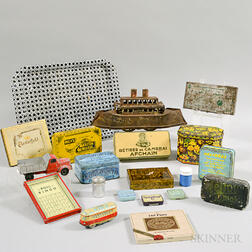 Group of Tin Boxes and Objects