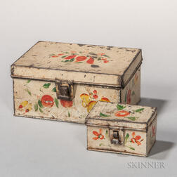 Two Small White-painted Tin Document Boxes