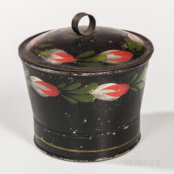 Painted Tin Covered Sugar Bowl
