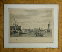 Framed H.I. Megarey Engraving Boston, From the Ship House, west end of the Navy Yard