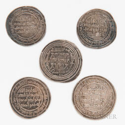 Five Islamic Abbasid Caliphate Silver Dirhams