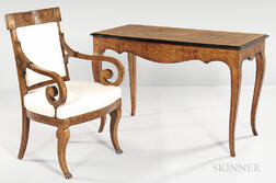 Continental Marquetry Neoclassical-style Desk and Chair