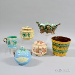 Six Pieces of Majolica Tableware