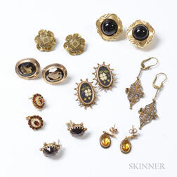 Eight Pairs of Antique Gold Earrings