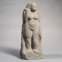Limestone Scultpture of Standing Female Figure