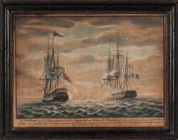 British School, Late 18th Century      The Portland, Capt. R. Magill of 14 Guns & 24 Men Engaging the French Privateer Le Revanche