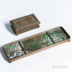 Tiffany Studios Pine Cone Pattern Stamp Box and Pen Tray
