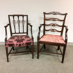 Two George III Mahogany Open Armchairs