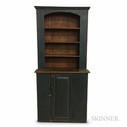 Country Blue-painted Step-back Cupboard