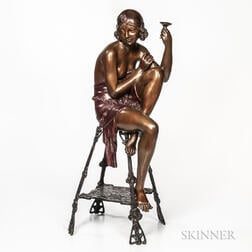 After Ferdinando De Luca (Italian, 20th Century)       Bronze Sculpture of a Flapper Girl