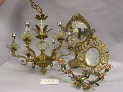 Gilt-metal Chandelier, a Pair of Painted Gilt-metal Sconces, and Five Gilt-metal Framed Mirrors.