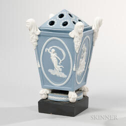 Turner & Co. Solid Blue Jasper Bough Pot and Cover