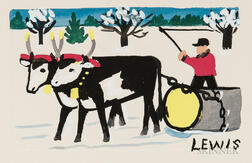 Maud Lewis (Canadian, 1903-1970)      Ox Team in Snow