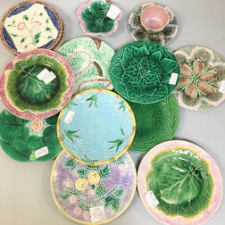 Fourteen Majolica Ceramic Tableware Items