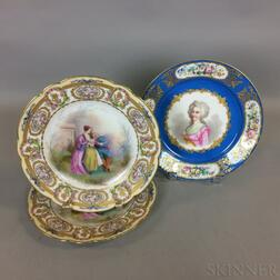 Three Sevres Hand-painted Porcelain Plates