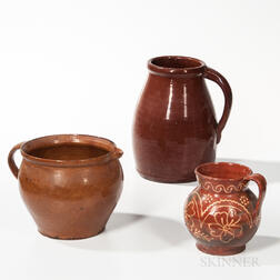Large Redware Jug, Bowl/Pitcher, and a Small Slip-decorated Pitcher