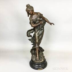 After Auguste Moreau (French, 1834-1917)    Bronzed White Metal Sculpture Libellule