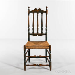 Three Painted Bannister-back Side Chairs