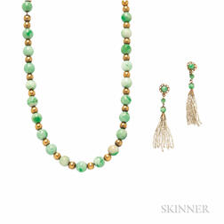 14kt Gold and Jade Bead Necklace