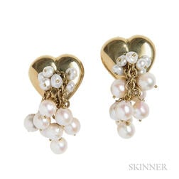 18kt Gold and Cultured Pearl Heart Earrings