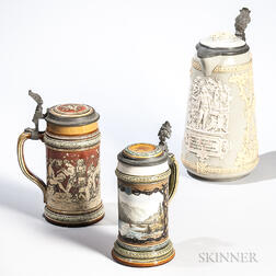 Two Mettlach Pottery Steins and a Flagon