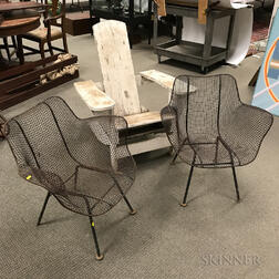 Pair of Mid-Century Modern Wirework Garden Chairs and a White-painted Adirondack Chair.     Estimate $200-300