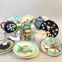 Sixteen Majolica Ceramic Tableware Items