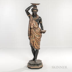 Painted and Parcel-gilt Carved Wood and Gesso Blackamoor Figure