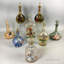 Three Stiegel-type Enameled Glass Decanters, a Pair, and Three Other Decanters