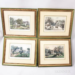 Four Framed Currier & Ives American Homestead   Series Hand-colored Lithographs