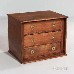 Small Pine Three-drawer Engineer's Chest