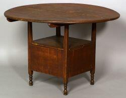 Red-Painted Cherry and Pine Chair Table, New England, last half 18th century, the circular top tilts on two horizontal supports with sh