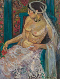 Edith Varian Cockcroft (American, 1881-1962)      Seated Nude with a White Veil