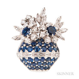 Platinum, Sapphire, and Diamond Flowerpot Brooch